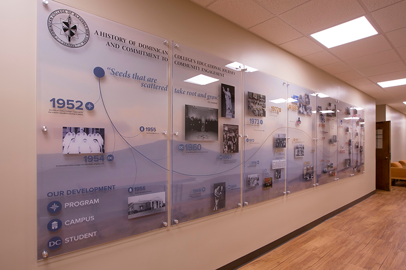 History of Dominican College, history wall, Forkel Hall Dominican College, The Byne Group