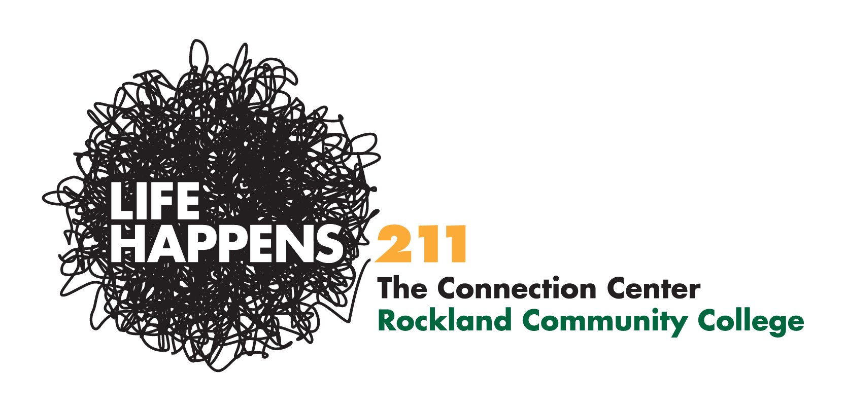 Rockland Community College, The Connection Center, Life Happens 211, The Byne Group logo, branding